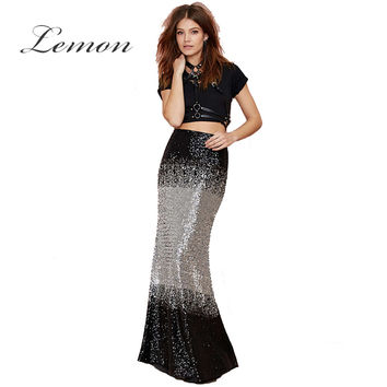 Lemon Elegant Long Skirt Streetwear High Waist Casual Female Maxi Skirts Sexy Fishtail Party Club Ombre Sequined Bodycon Skirt