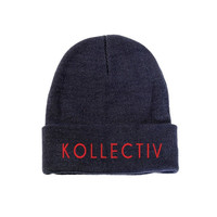 "Kollectiv ""Wordmark"" Unisex Knit Beanie 12"" Fold (Nvy/Red)"