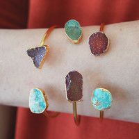 Druzy and Turquoise Cuff: Pomegranate