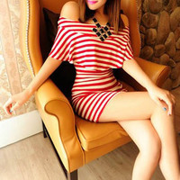 Red and White Striped Off Shoulder Ruffled Dress