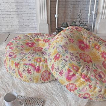 Pimlada Phuapradit Summer Bloom I Floor Pillow Round