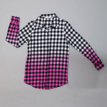 Vintage Havana Black & Pink Dip Dye Buffalo Plaid Shirt (S-XL)