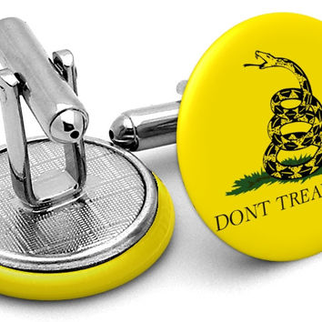 Gadsden Tread on Me Flag Cufflinks