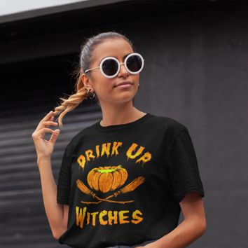 Men's Funny Halloween T Shirt Drink Up Witches Pumpkin Shirt Drinking TShirt Halloween Shirts Witch T Shirts