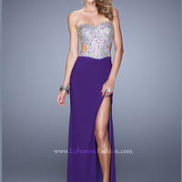 Sweetheart Sequined Floor Length With High Slit La Femme Prom Dress 20968