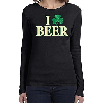 Ladies St Patricks Day Shirt I Love Beer Long Sleeve