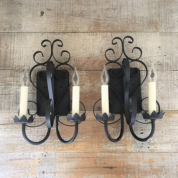 Wall Sconces Pair of Wall Lamps Electric Candle Sconces Wrought Iron Sconces Hollywood Regency Lamps Wall Lights Gothic Wall Lamp