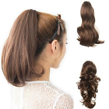 """15"""" Dual Use Curly Styled Clip in Claw Ponytail Hair Extension Synthetic Hairpiece with a Jaw/claw Clip"""