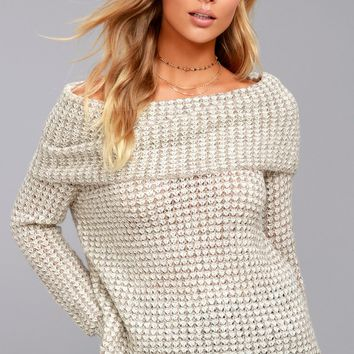 BB Dakota Tegan Beige Off-the-Shoulder Sweater