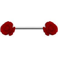 14 Gauge Fancy Red Rose Nipple Ring Barbell | Body Candy Body Jewelry