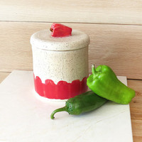 Kitchen Canister. Pottery Jar. Ceramic canister. Handmade Pottery. Storage Jar. Red. Pepper. Country Kitchen