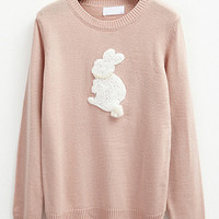 Pink Rabbit Patch Sweater