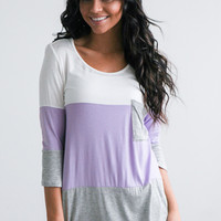 Colorblock Pocket Top - Ivory/Lilac/Grey