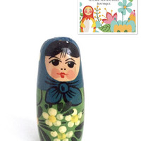 "Vintage Nesting Doll, 1.5"" Miniature Solid Non-Nesting Doll, Matryoshka Doll, Babushka Doll, Russian Doll. Doll House Figurine."