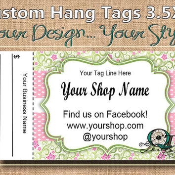 Country Chic Floral Print Custom Hang Tag Business Card Style Printing  Matte  3.5 x 2 inch cards Design services  Sales Tags Shop Tags