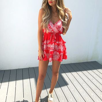 Blowing Kisses Dress: Red/White