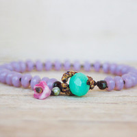 Beaded bracelet -  artisan boho - light milky purple