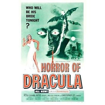 Horror Of Dracula Movie poster Metal Sign Wall Art 8in x 12in