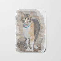 CALICO CAT WATERCOLOR Bath Mat by digitaleffects