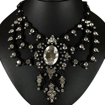Black Statement Crystal Necklace