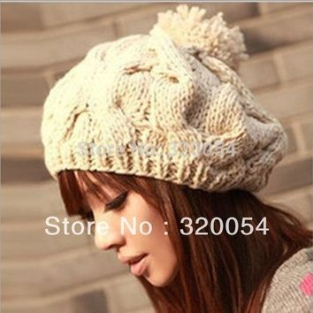 PEAPUNT Free shipping,1pcs,2015 new Korean version of the pumpkin hat hand-knitted hats autumn and winter Wool cap,Warm hat,Multicolor