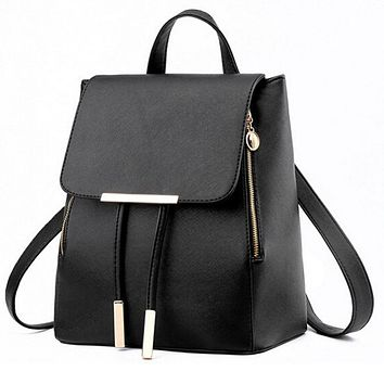Women Backpacks Solid Fashion School Bag For Teenage Girls High Quality PU Leather Vintage Waterproof Backpack Travel Bags