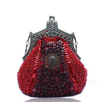 HOT 2016 New Evening Bag Handmade Beads Clutch Bag Delicate Banquet Bags Vintage Wedding Party Purse free shipping