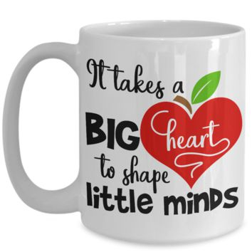 Back to School Teacher Coffee Mug Big Heart Shape Minds