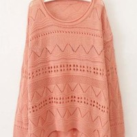 Pink Curved Hum Holey Texture Loose Sweater