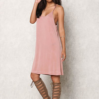 Blush Jersey Knit Cami Racerback Shift Dress