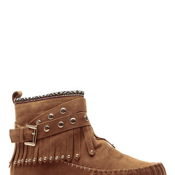 Tribal Touch Whisky Fringe Moccasin Boots