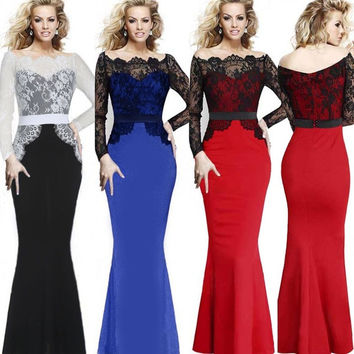 Women Elegant Lace Patchwork Evening Party Long Mermaid Maxi Dress = 1931800644