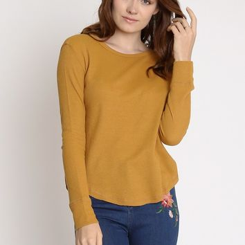 Maine Long Sleeve Knit Top In Almond | Ruche