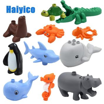 Original Ocean Animal Classic Large Particle Building Blocks Accessories Bricks Compatible with Duplo Set Children Toys DIY Gift