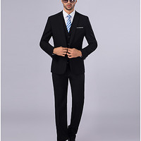 [€78.39] Suits Slim Fit Slim Notch Single Breasted One-button 3 Pieces Black Straight Flapped