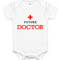Cute Future Doctor Baby Clothes Infant Bodysuit Jumper Baby Shower Gift idea Funny New Mom Christmas Pregnant Gift for Doctor or Nurse Medic