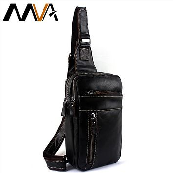 Genuine Leather Men Bag Male Chest Bag Travel Shoulder Man Crossbody Bags Men Messenger Bags Phone Sling Chest Pack