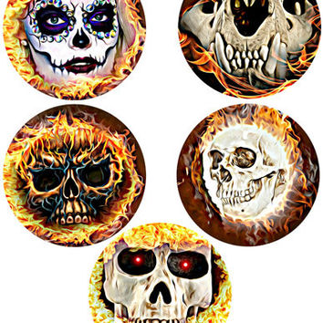 Flaming Skull Art Day Of The Dead printables collage sheet skeletons graphics circles digital download images dia de los muertos printables