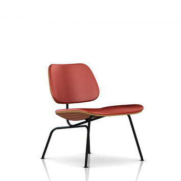 Eames Molded Plywood Upholstered Lounge Chair-Leather / eames LCM