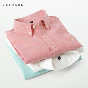 Easy Care Cotton Oxford Shirt Men Long Sleeve Spring Casual Shirts  Social Dress Shirt Male