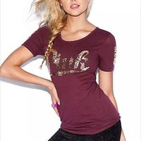 Victoria's Secret PINK Maroon Crew Neck Tee Shirt Bling Sequin MAROON XS