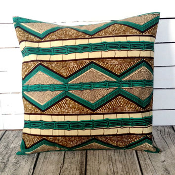 African Throw-pillow, African wax print, Bamboo, Teal, Brown, Throw pillow cover  (17 inch)