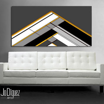 "Customizable! Original abstract painting. 24x48"" Geometric canvas art with gray and yellow. Modern wall art. Large painting."