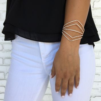 Chevron Crystal Bracelet in Gold