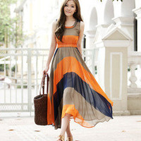 Hot!  Women Celebrit Pleated Bohemian Striped Summer Long Sun Dress