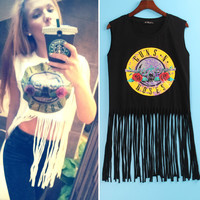 2 Colors Sexy Hot T Shirt Women GUNS N ROSES Print Crop Top T-shirt Women Cropped Tops Tassel Hollow Out Sleeveless  Tee Shirt