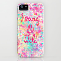 Young & Wild | Girly neon Pink Teal Abstract Splatter Typography iPhone & iPod Case by Girly Trend