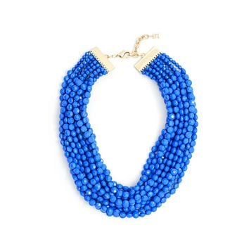 Beaded Bib Necklace in Assorted Colors