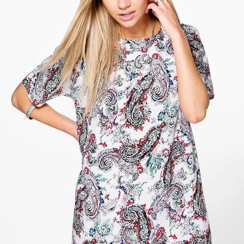 Helena Paisley Cap Sleeve Shift Dress