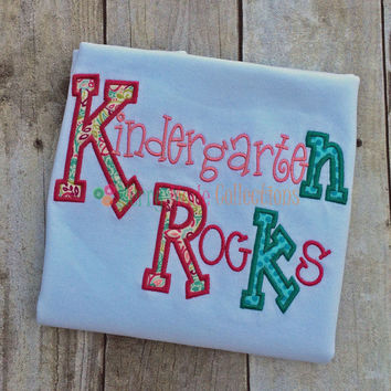 Kindergarten Rocks / Preschool graduation - Applique shirt